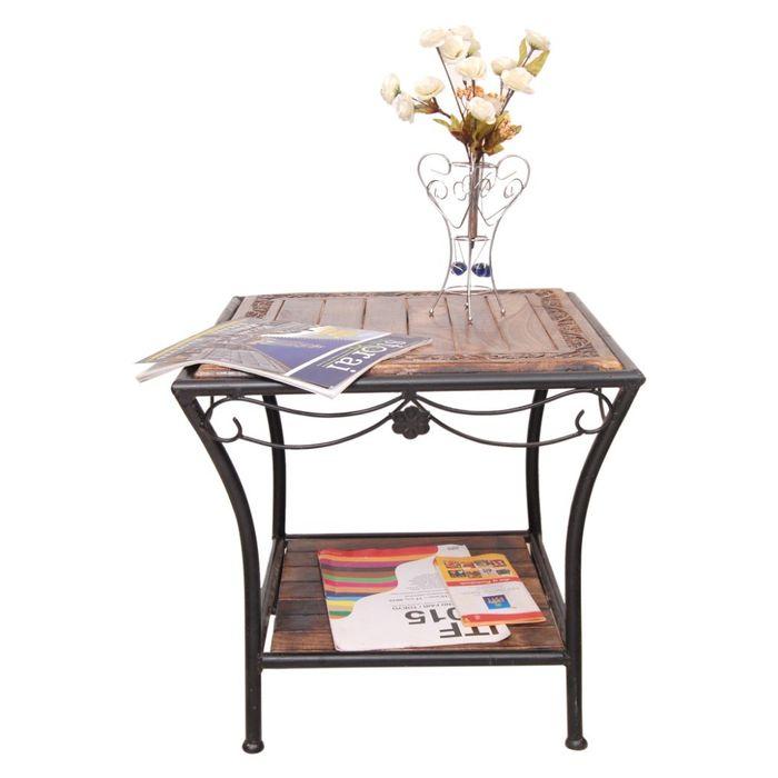 Onlineshoppee Wood & Iron cum End Table Size(LxBxH-19x19x19) Inch