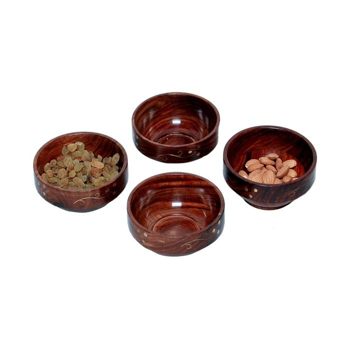 Onlineshoppee Wooden Handdmade With Brass Work Bowl Size-lxbxh-4x4x2 inch Set Of 4