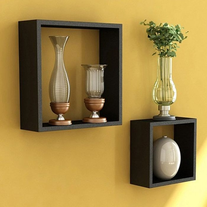 Onlineshoppee Home Decor Premium Solid Wood Black Wooden Cube Wall Shelves (Set Of 2)
