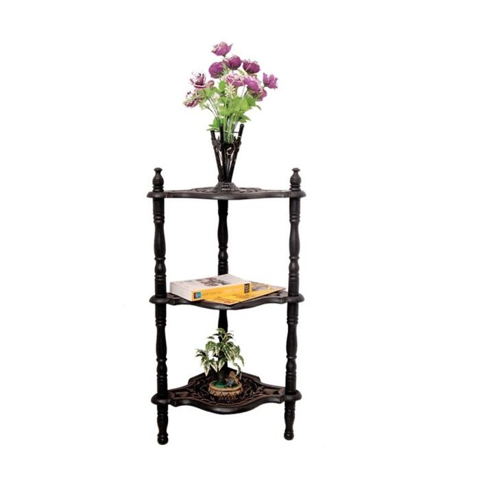 Onlineshoppee Wooden Big Hand Carving Work With 3 Shelves End Table/Side Corner Size-(LxBxH-20x16x35) Inch