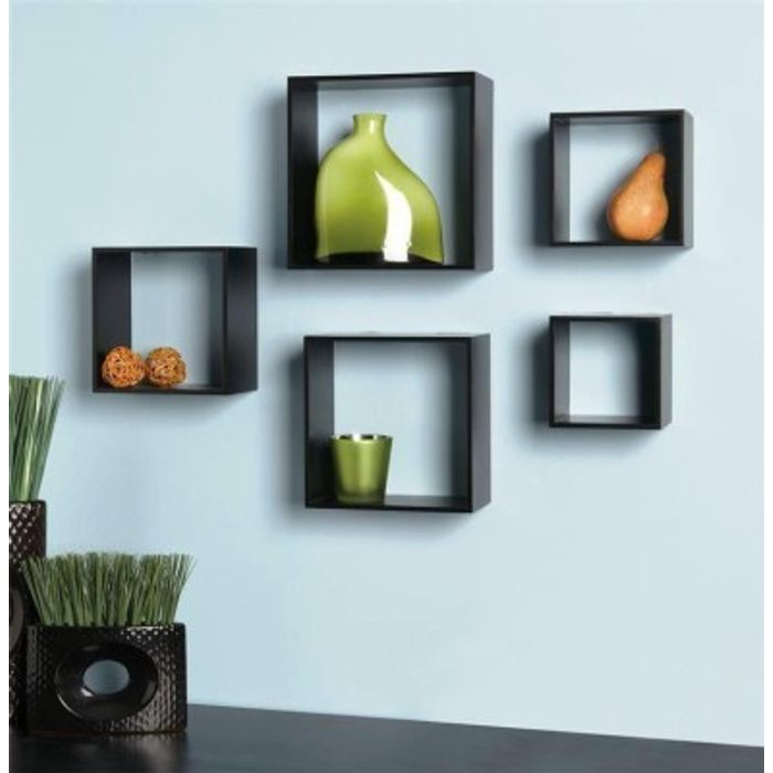 Onlineshoppee Home Decor Premium Solid Wood Shelf Rack Wall Bracket  handicraft design - Color-Black