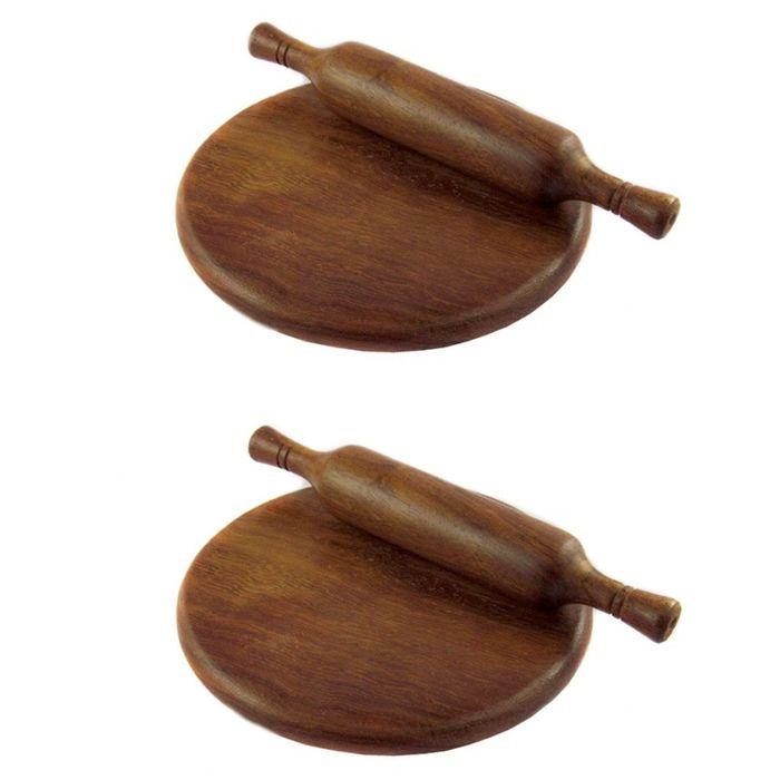 Onlineshoppee Wooden Brown Colour Chakla Belan Set of 2