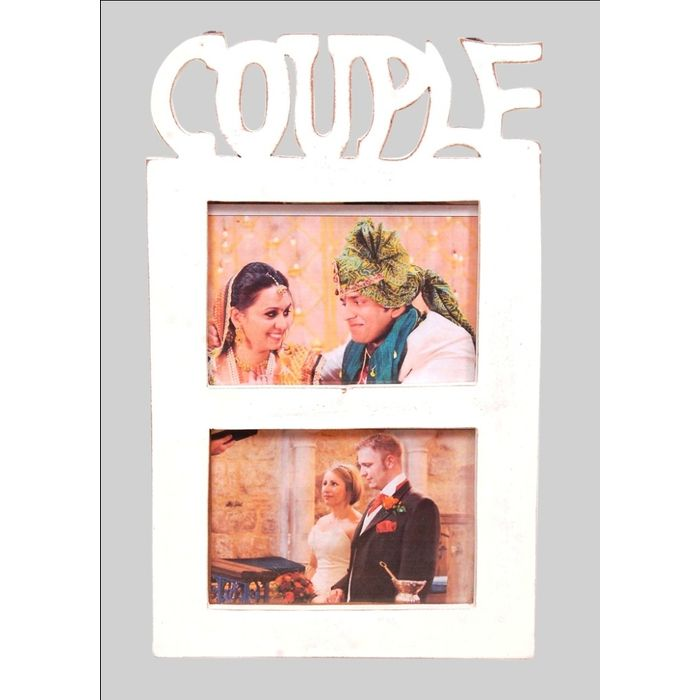 Onlineshoppee Wooden and Antique Wall Hanging COUPLE Collage  Photo Frame  Colour White