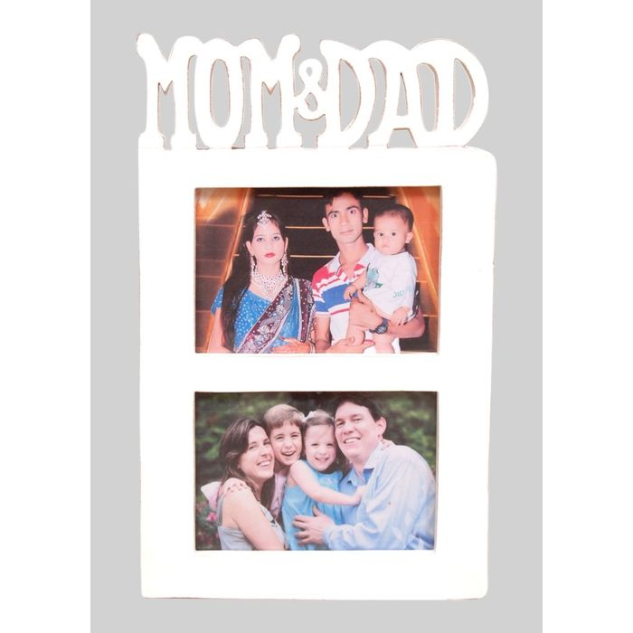 Onlineshoppee Wooden and Antique Wall Hanging MOM & DAD Collage  Photo Frame  Colour White