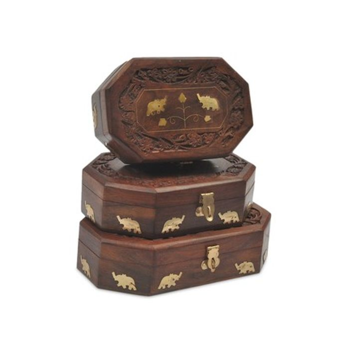 Onlineshoppee Wooden Antique Brown Jewellery Box with Brass Work Set Of 3 Size LxBxH-8x5x2.5 Inch
