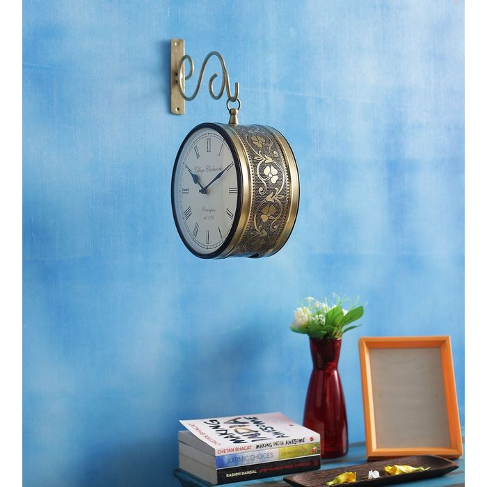 Onlineshoppee Iron Wall Hanging Vintage Style Station Clock Double Sided