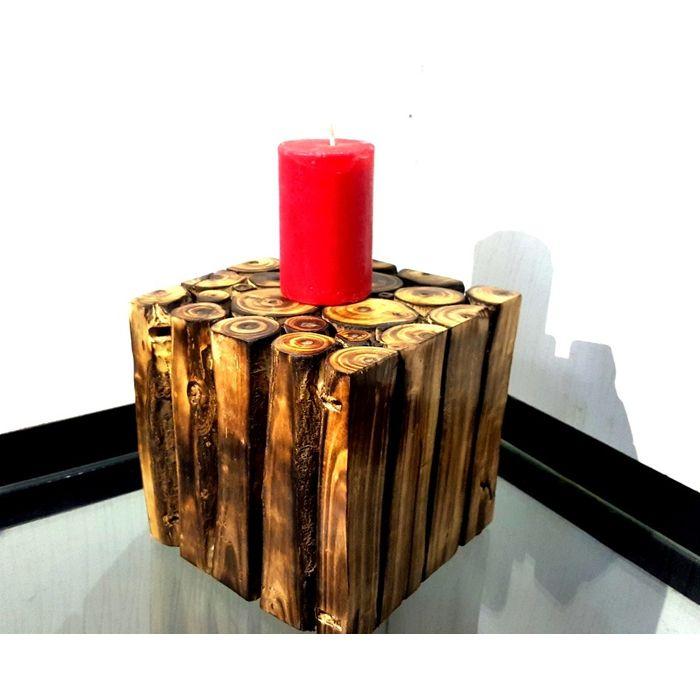 Onlineshoppee Wooden Antique Tea light Holder Square Shape Size-LxBxH-6x6x6 Inch