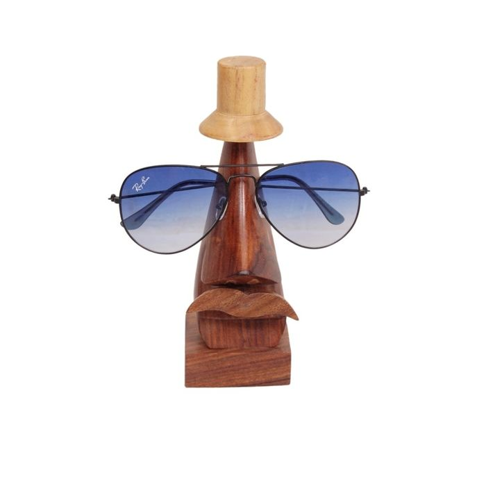 Onlineshoppee Handmade Wooden Nose Shaped Spectacle Holder