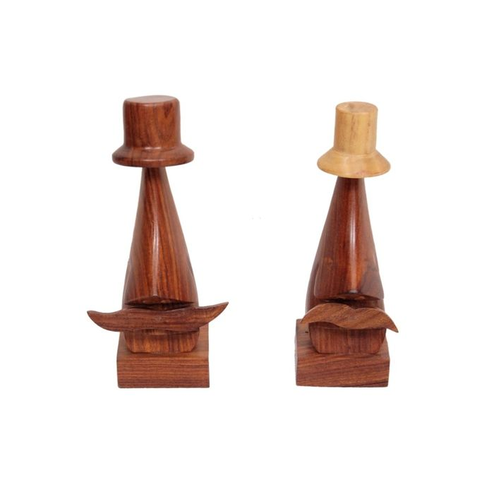 Onlineshoppee Handmade Wooden Nose Shaped Spectacle Holder set of 2