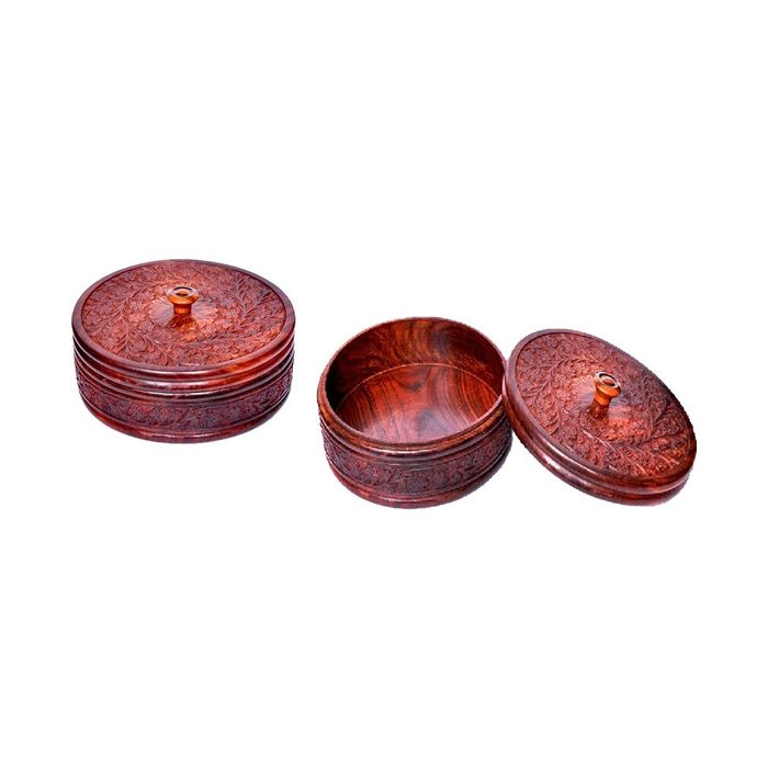Onlineshoppee Wooden Kitchen Ware Chapati Box  with fine carving