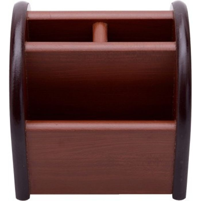 Onlineshoppee 3 Compartments Wooden Mobile Cum Pen Holder