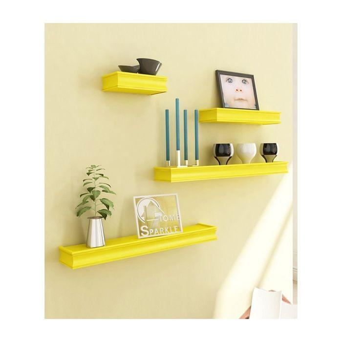 Onlineshoppee Beautiful Wooden Yellow Rectangular  Wall Shelf