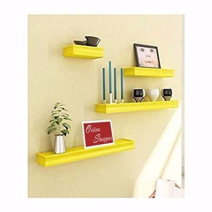 Onlineshoppee Beautiful MDF Yellow Rectangular  Wall Shelf