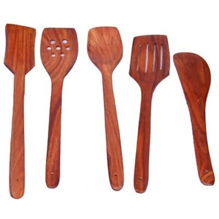 Onlineshoppee  Wooden Handmade  Serving and Cooking Spoon Pack of 5