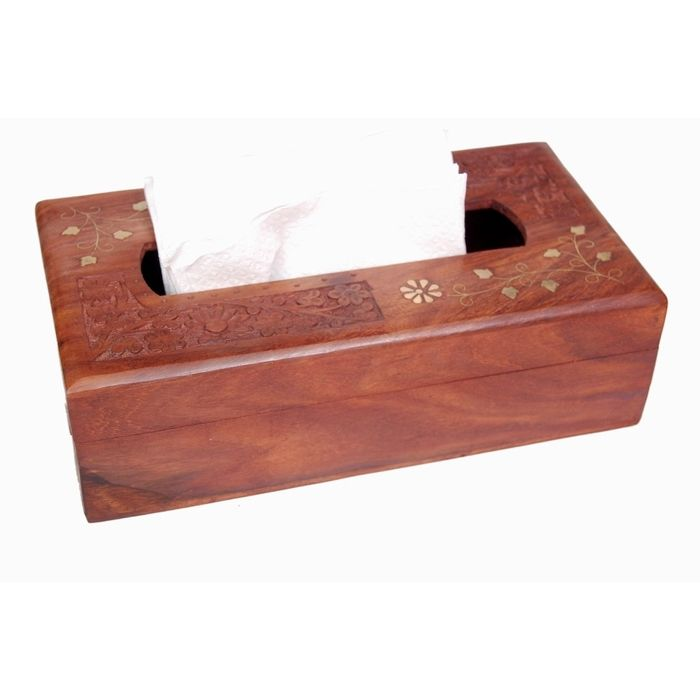 Onlineshoppee Wooden Tissue Box with Brass and carving work