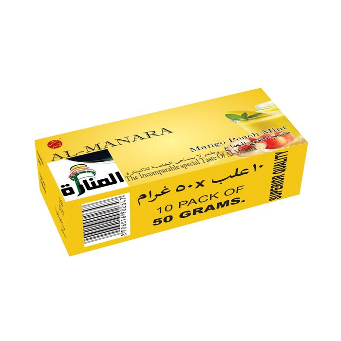 AL-Manara Mango Peach Mint Flavour for Hookah  Pack of 10 ( 500 gram )