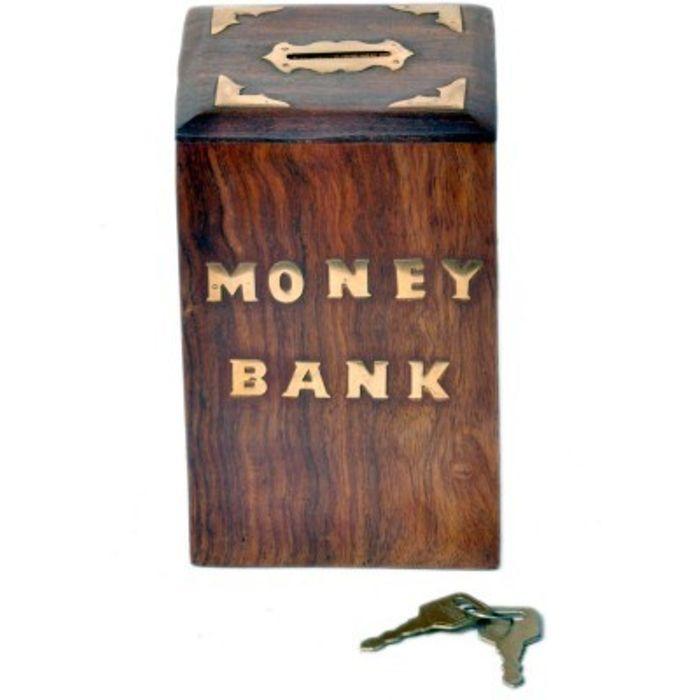 Onlineshoppee Sheesam Wood  Money Bank With Handicraft  Design