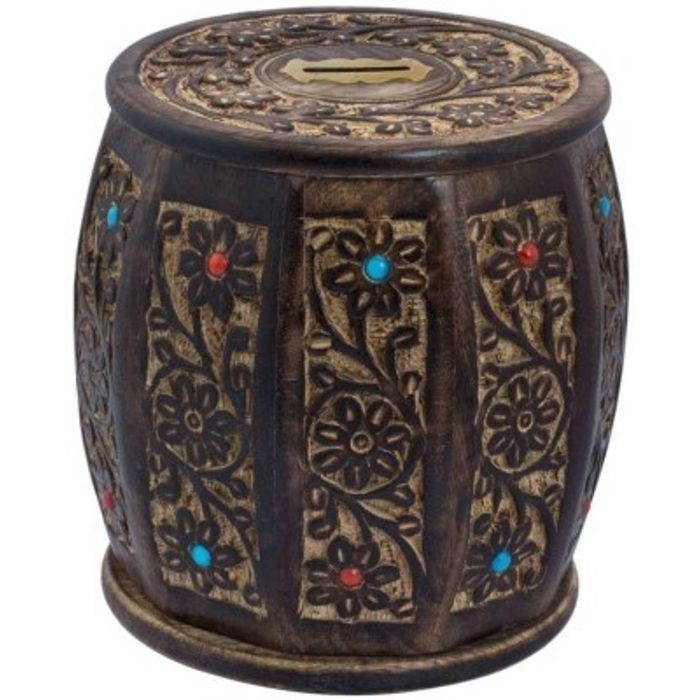 Onlineshoppee Wooden Drum /cylinder  Shaped  Money Bank