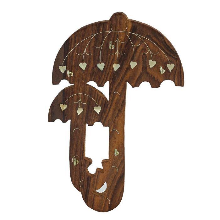 Onlineshoppee Wooden Wall Mounted Umbrella Design Key Holder