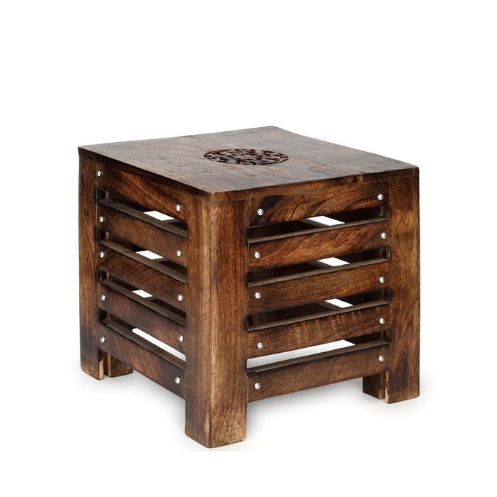 Onlineshoppee Wooden Handmade  End Table Size-LxBxH-12x12x11.5 Inch