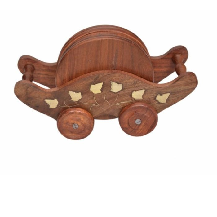 Onlineshoppee Wooden Troly Shaped With Brass Work Coaster Set Size-LxBxH-7x3x4.5 Inch
