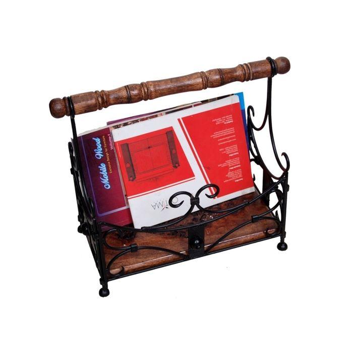 Onlineshoppee Wooden With Handwork Magazine Holder Size-18x9x16 Inch