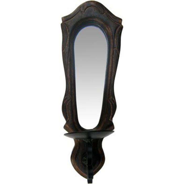Onlineshoppee Wooden & Iron Beautiful Hand Carved Wall Hanging Miror Reflection Candle Holder