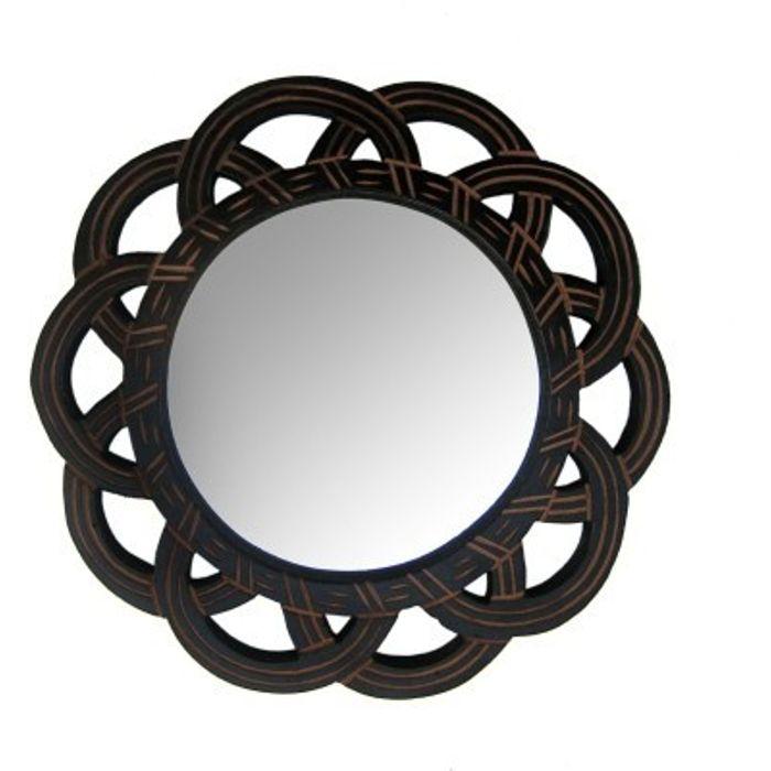 Onlineshoppee Wooden Antique With Handicraft Work Fancy Design  Mirror Frame Size(LxBxH-11x1x11) Inch