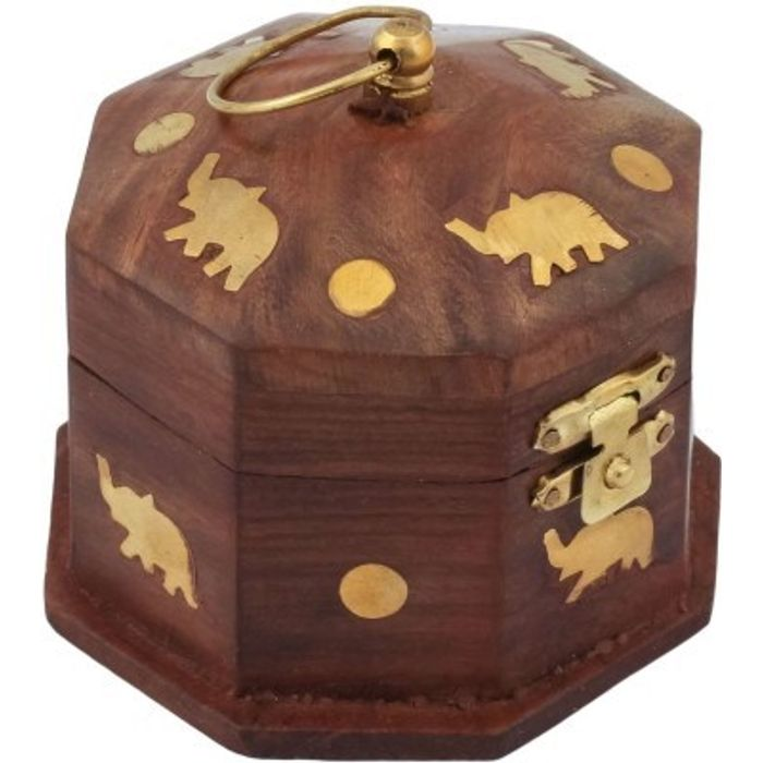 Onlineshoppee Wooden Antique Brown Jewellery Vanity Multi Purpose Box with Brass Work