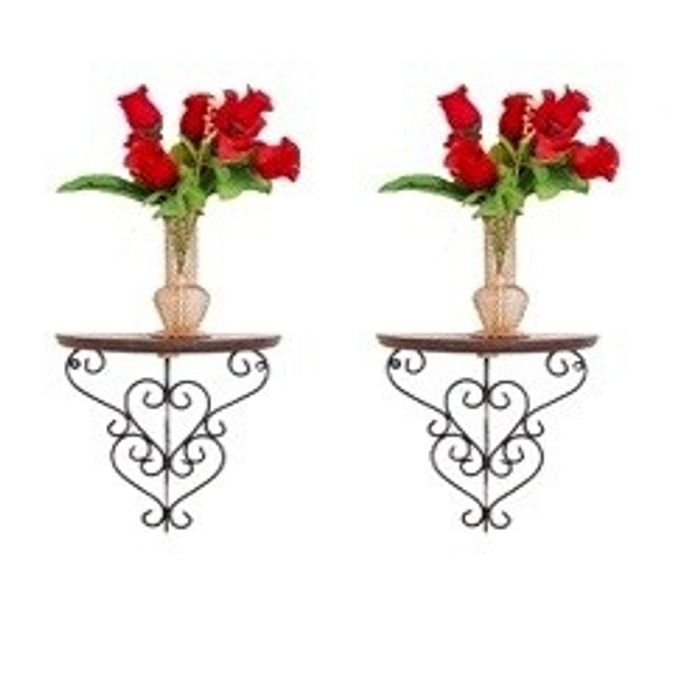 Onlineshoppee  Wooden & Wrought Iron Big Wall Bracket/Rack  Size (LxBxH-11x6x11) Inch Pack Of 2