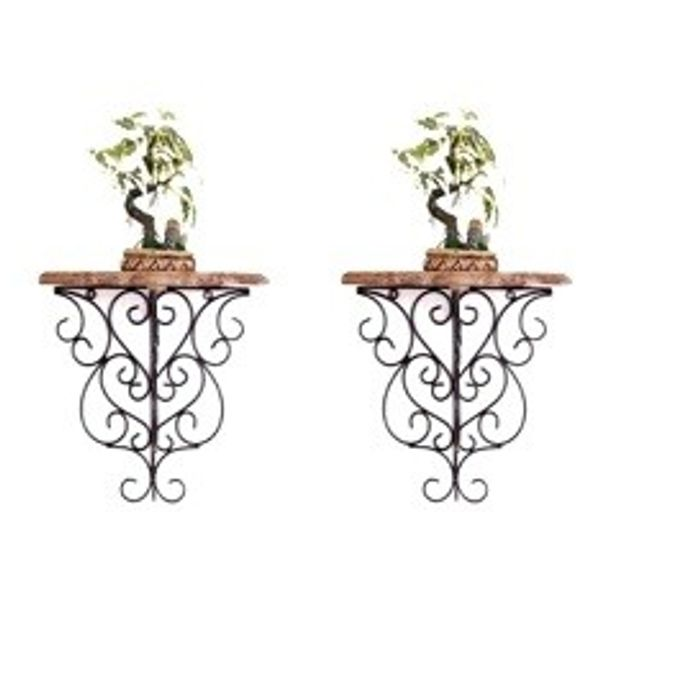 Onlineshoppee  Wooden & Wrought Iron Big Wall Bracket/Rack  Size (LxBxH-13x7x12.5) Inch Pack Of 2
