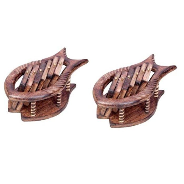 Onlineshoppee Wooden Coaster Set Fish Design Pack Of 2