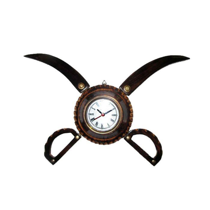 Antique Wooden Sword Armour Clock