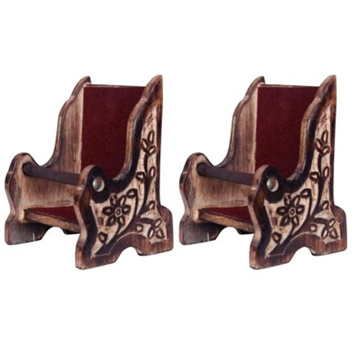 Onlineshoppee Antique Wooden Chair Design Mobile Stand With Hand Carved Design,Pack Of 2