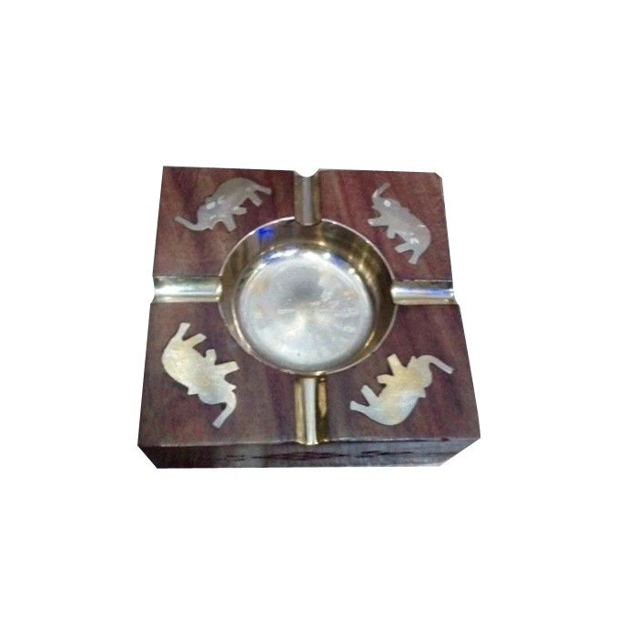 Wooden Premium Quality Antique Ashtray With Brass Elephent Design```
