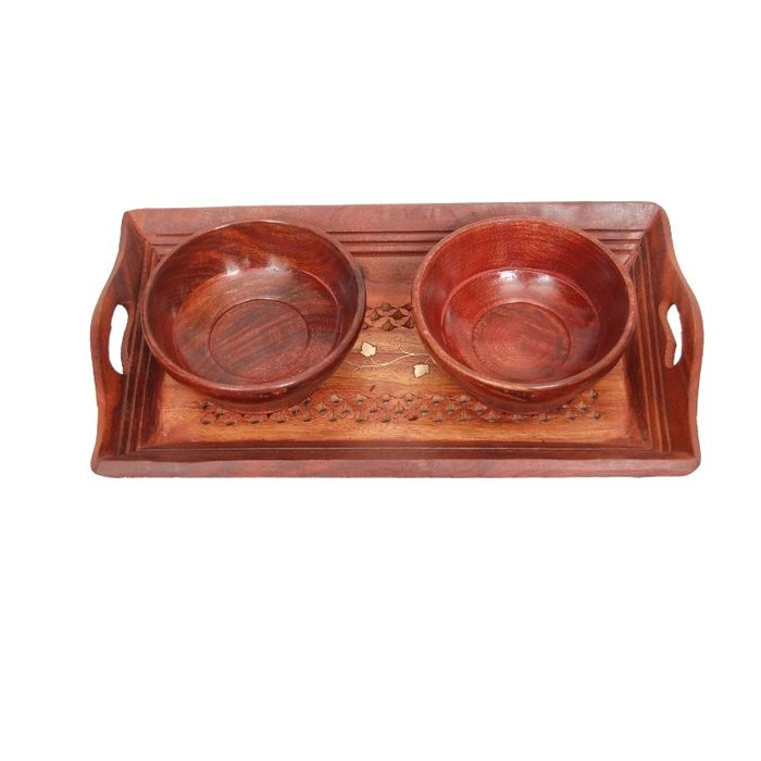 Onlineshoppee Handicrafts Designed Brown Tray With 2 Bowls Wood Carvings