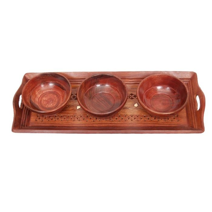 Onlineshoppee Handicrafts Designed Brown 1 Tray With 3 Bowls Wood Carvings Size-(15x6x1)Inch
