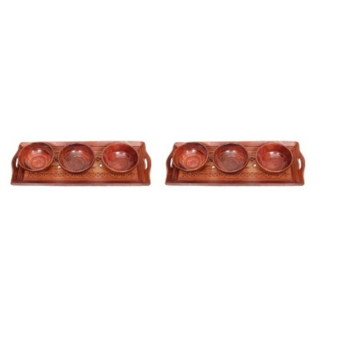 Onlineshoppee Handicrafts Designed Brown 2 Tray With 6 Bowls Wood Carvings Size-(15x6x1)Inch,Pack Of 2