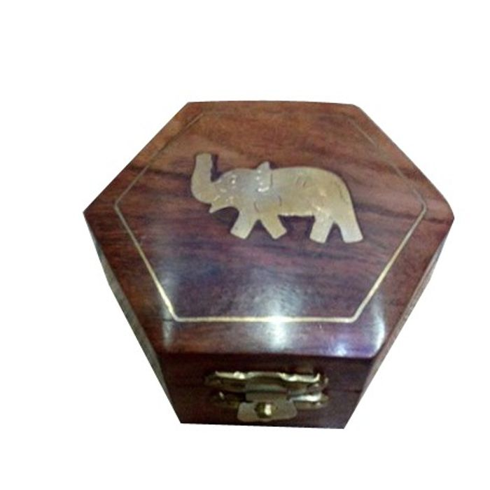 Premium Quality Wooden Hand Carved Jewellry Box With Elephent Brass Design