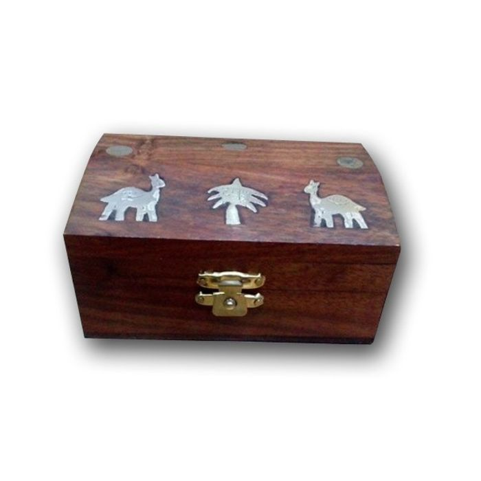 Premium Quality Wooden Hand Carved Jewellry Box With  Camel Brass Design