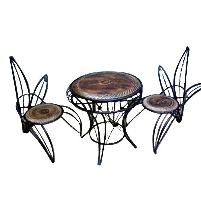 Onlineshoppee Four Wooden And Wrought Iron Chair In Unique Design With Center Table