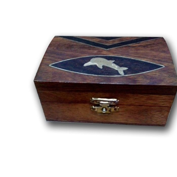 Premium Quality Wooden Hand Carved Jewellry Box With  Fish Brass Design