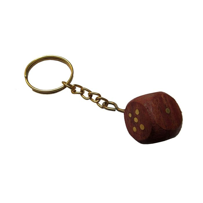 OnlineShoppee Non Metal Wooden Dice Keychain Set of 2