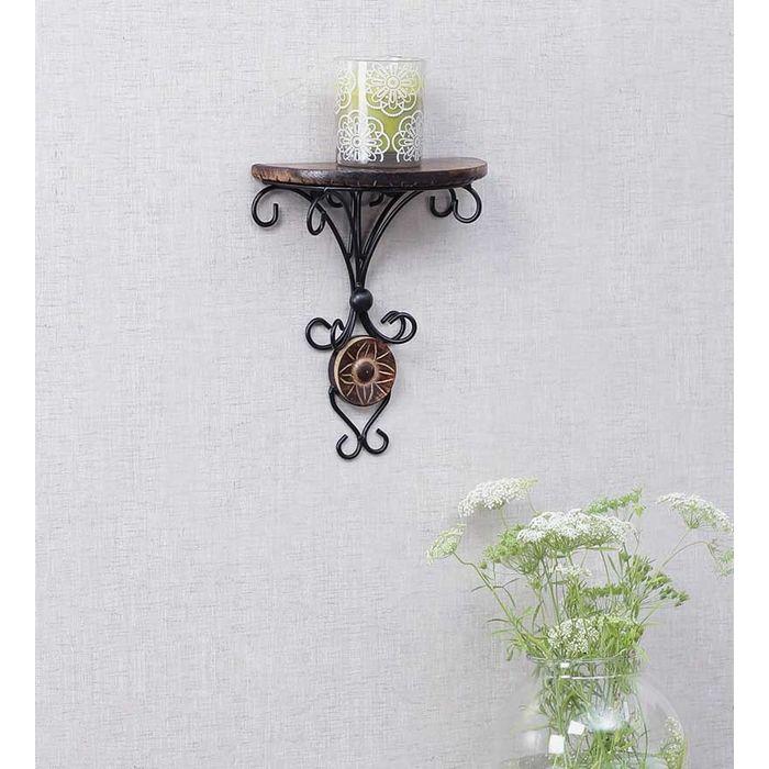 Onlineshoppee Beautiful Wood & Wrought Iron Fancy Brown Wooden Handicrafts Wall Shelf