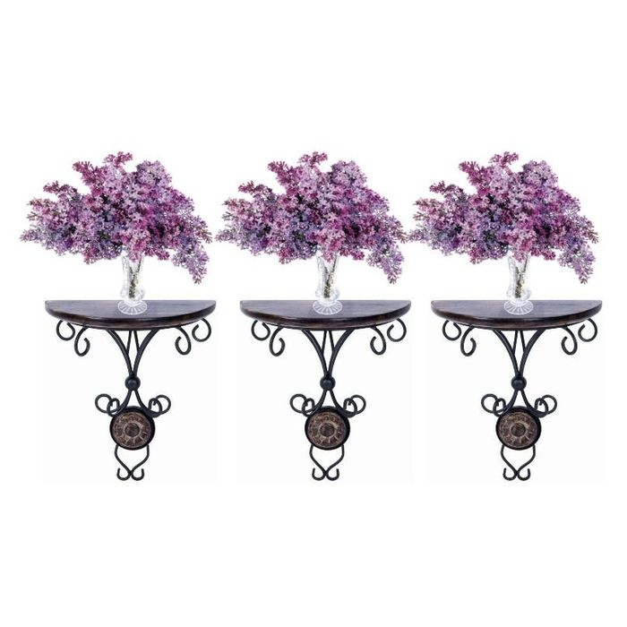 Onlineshoppee Beautiful wood & wrought iron Fancy wall bracket Combo Pack of 3