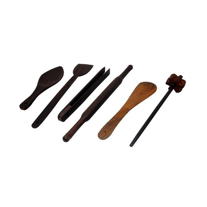 Onlineshoppee Wooden Taveta Belan Spatula Tong Spoon Mandhyani Combo 6Pc