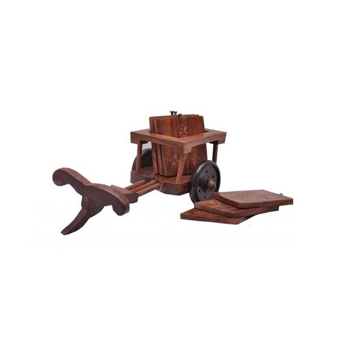 Onlineshoppee Wooden Bullock-cart Tea Coasters Home Decor(6 Pcs.)