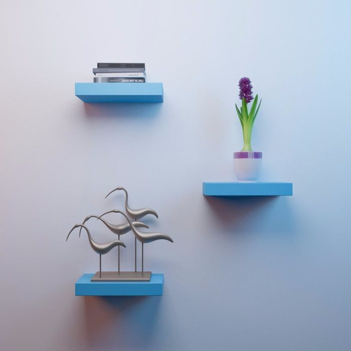 Onlineshoppee MDF Floating Wall Shelves Set of 3 Racks Shelves  - Sky Blue