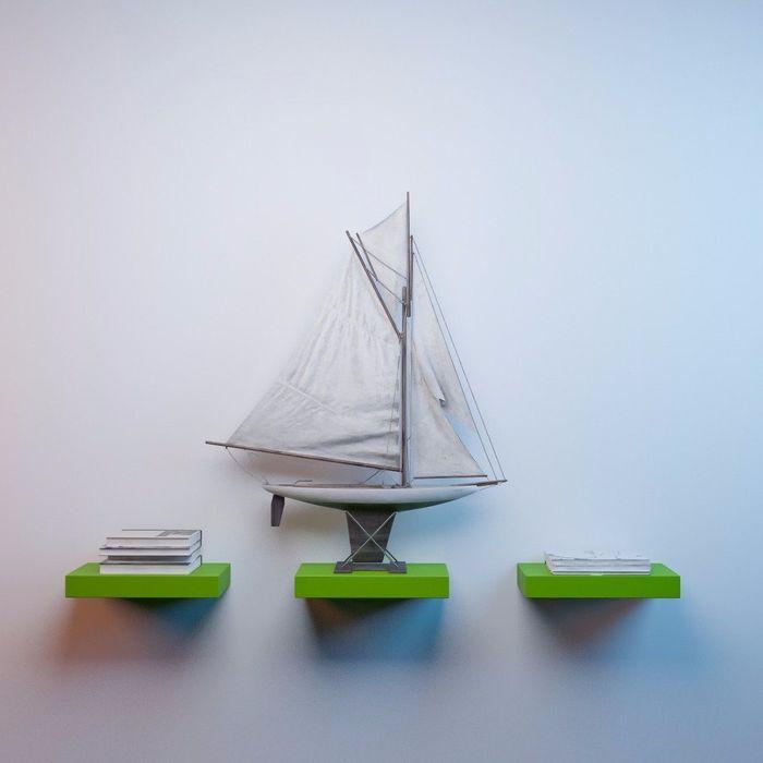 Onlineshoppee MDF Floating Wall Shelves Set of 3 Racks Shelves (12x7x1.5)Inch - Green