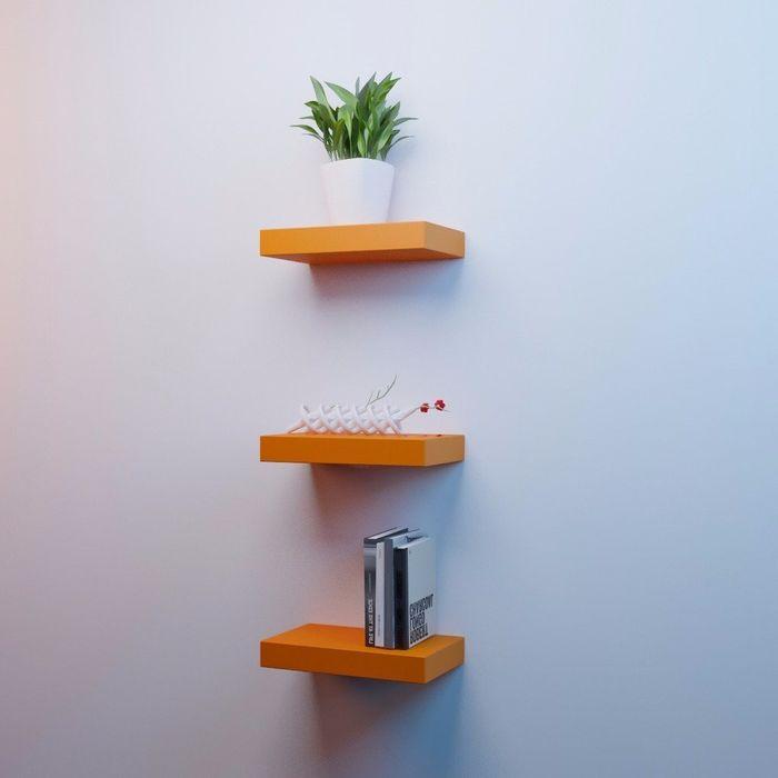 Onlineshoppee MDF Floating Wall Shelves Set of 3 Racks Shelves (12x7x1.5)Inch - Orange